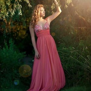 Pink and Peach A-Line Gown with Beached Bodice
